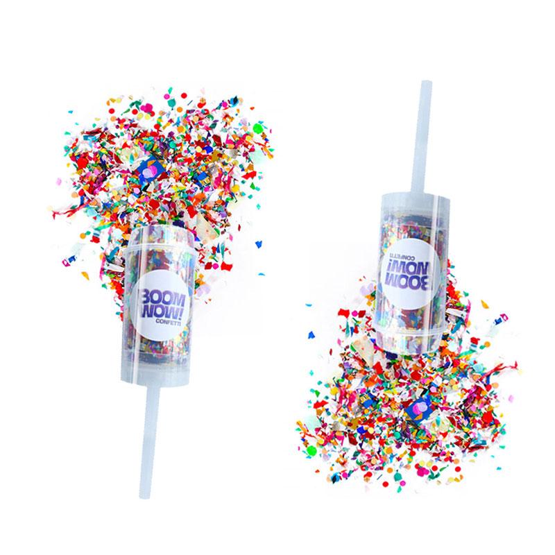 Silver+White Push Pop Confetti