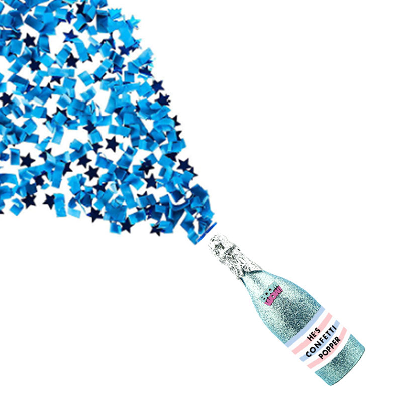 Boomwow Baby Shower Champagne Blue Confetti Shooter