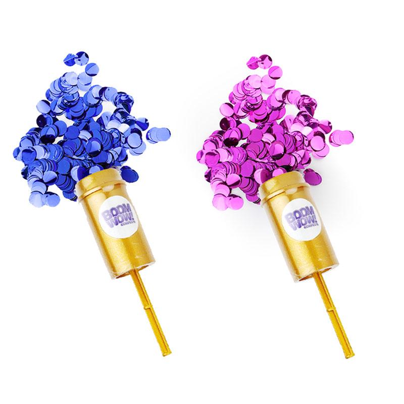 Gender Reveal Pink Blue Metallic Push Pop Confetti