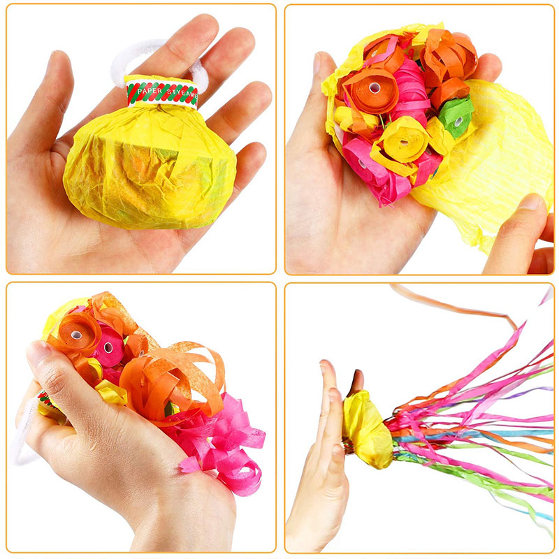 Boomwow 6m No Mess Colorful Paper Party Streamers with Handle-Yellow Cover