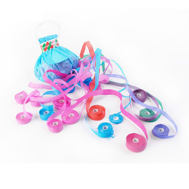 Boomwow 6m No Mess Colorful Paper Party Streamers with Handle-Blue Cover