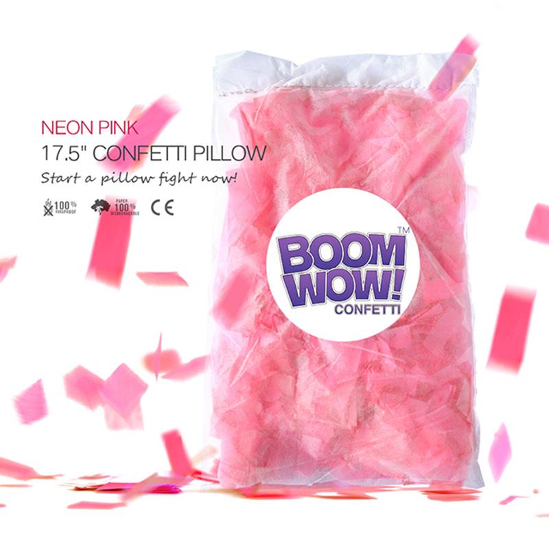 Neon Pink Slips Confetti Pillow