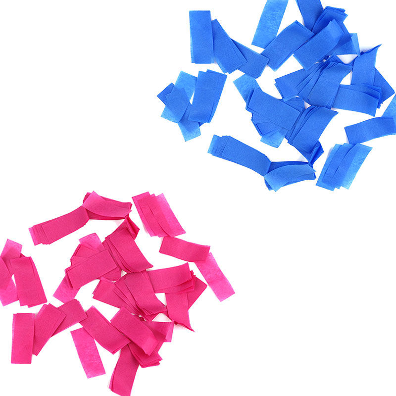 Boomwow gender reveal party supplier 100% biodegradable blue pink slips confetti